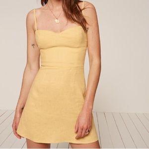 Reformation Audrey Mini Dress Buttercup Yellow 2